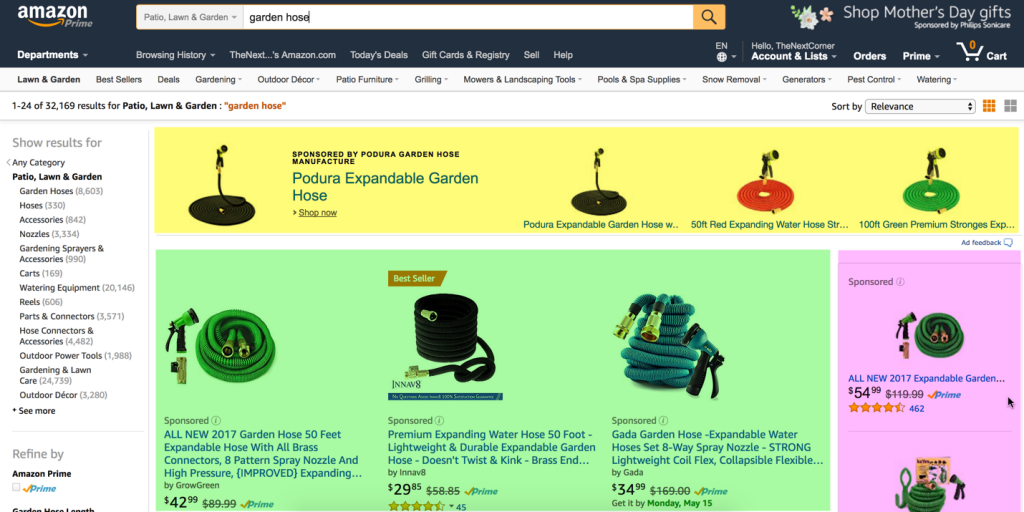 amazon ads above fold